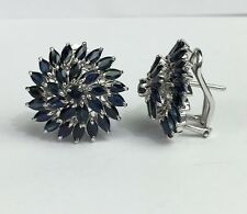 .925 Sterling Silver Round Cluster Omega-Back Earrings, Natural Sapphire 6.5TCW
