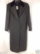 JNY Jones New York Coat Full Length Gray Black Herringbone Pure Wool 3 Button