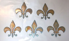 Lot of 5 Fleur De Lis 3 In Rusty Metal Vintage Craft Stencil Ornament Magnet