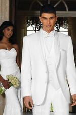 2015 White Groom Tuxedos Lapel Best Man Groomsmen Men Wedding Suits Bridegroom