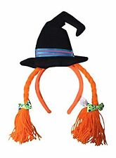 Wicked Witch Halloween Hat Headwear Headband with Bows and Yarn Hair Orange NEW