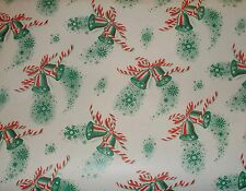 VTG CHRISTMAS 1940 BELLS OLD STORE WRAPPING PAPER 2 YARDS GIFT WRAP WW2 ERA