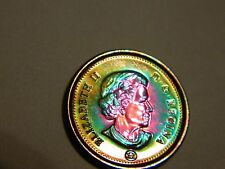 2011 Canada One Cent Penny Vivid Pink/Green/Blue Toning  ---Lot #913