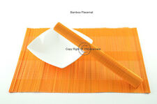 4 Handmade Bamboo Wood Placemats Table Mats, Orange, P049