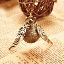Harry Potter Golden Snitch Quartz Pocket Watch+Sweater Necklace Chain Clock Gift