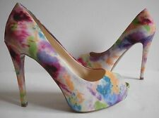GUESS Multi Color Peep Toe Pumps Heels Sandals Shoes 5.5/6