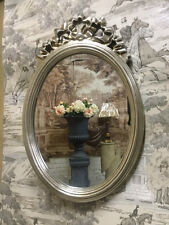 Antique Silver Medium Size Oval French Ribbon Style Bevelled Wall Mirror
