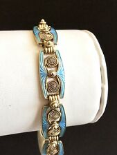 Rare MARIUS HAMMER Norwegian Silver Gilt & Pale Blue Guilloche Enamel Bracelet