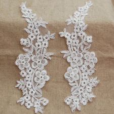 2 Embroidery Corded Flower Organza Lace Applique Motif Ghost White Bridal - 29cm