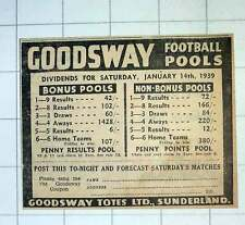 1939 Goodsway Totes Ltd Sunderland Football Pools Ad