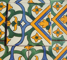 "10~Talavera Mexican 4"" tile pottery Border gold pale blue cream green FLORAL"