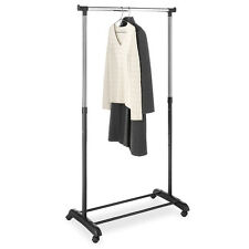 Portable Single Pole Rolling Clothes Hanger with Shoe Rack