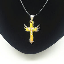 Men'S Fashion Jewelry Gold Wings Cross Swords Pendant Black Leather Necklace #1