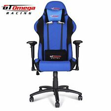 GT OMEGA PRO RACING GAMING OFFICE CHAIR BLUE AND BLACK FABRIC ESPORT SEATS
