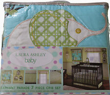 BABY CRIB BEDDING BOY GIRL 7 PIECE SET ELEPHANT PARADE (LAURA ASHLEY)