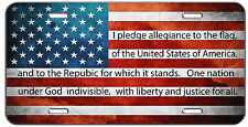 CUSTOM PATRIOTIC LICENSE PLATE AMERICAN FLAG PLEDGE OF ALLEGIANCE AUTO TAG