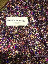 Dries Van Noten Purple,multicolor,confetti Feather Silk Maxi Dress Gown 36/S( XS