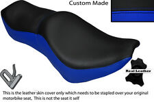 BLACK & ROYAL BLUE CUSTOM FITS YAMAHA VIRAGO XV 700 1000 LEATHER SEAT COVER