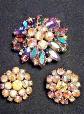 Vintage Brooch Earrings Set Iridescent Pink Aqua Purple Lrg Rhinestone Starburst