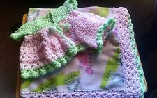 NEW ITEM!Handmade crochet baby blanket,girls set.32x36&, includes all in pic.