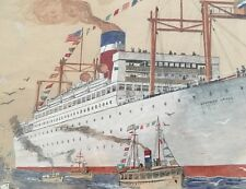 Munson Steamship Line Southern Cross Original Watercolor Pencil Drawing Early