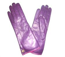 COACH Women's Cashmere Lined Leather Gloves PURPLE PLUM size 8 NWT NEW 82821