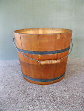 "Antique Bucket Firkin Pail Wood Primitive Metal Bands, Bail Handle, 9-3/4"" Tall"