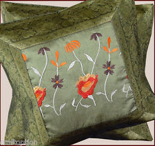 PAIR OF(two) GREEN SILK EMBROIDERY BROCADE PILLOW COVER CUSHION COVER FROM INDIA