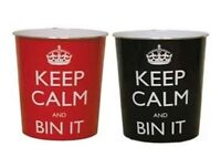 KEEP CALM PLASTIC OFFICE BEDROOM WASTE STORAGE PAPER DUST RUBBISH BIN BINS