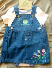 6 - 9 m  Girls John Deere Onesie Denim Jumper Dress 6 / 9 Months New Outfit