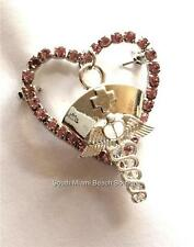 Silver Crystal Nursing Pin Brooch Gift Nurses RN LPN CNA Caduceus Pink Heart USA