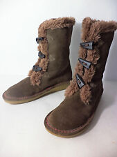 EARTH SHOE 'GLACIER' Womens US 7M Brown Leather upper with Faux Fur trim Boot