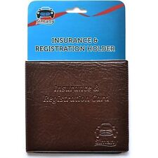 "Brown CAR INSURANCE REGISTRATION HOLDER WALLET 5.25""x4.6"" Embossed Faux-Leather"