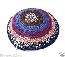 Knitted 18 cm Colorful Kippah Jewish Judaica Head Yarmulke Synagogue w Free Clip