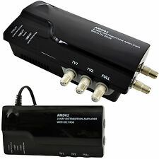 2 Way TV Aerial Distribution Amplifier–4G Amp Splitter Booster F-type Coaxial DC