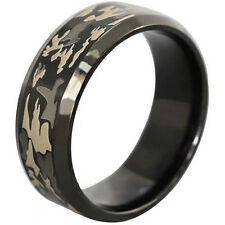 8MM Size 7-14 Stainless Steel Camo Hunting Forest Wedding Engagement Ring Band