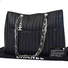 Auth CHANEL Mademoiselle Quilted Shoulder Tote Bag Leather Black Italy 10F045