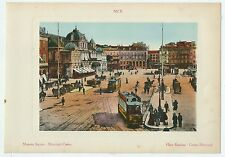 1900ca NICE PLACE MASSÉNA CASINO chromolithographie J. Gilletta Côte d'Azur tram