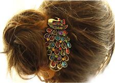 New Women's  Retro Colorful Rhinestone Feathers Peacock Hair pin Duckbill clip