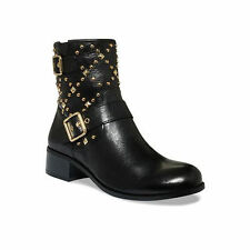 $129 size 7 INC Wenda Black Leather Ankle Booties Studs Womens Shoes NEW