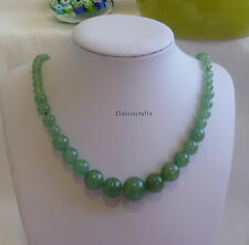 Certified green natural Dongling Jade 7-15mm beads tower necklace about  L47cm