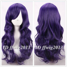 Tim Burton's Corpse Bride purple long wave curly cosplay wig +a wig cap