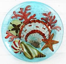 Sea Shells Art Glass Plate Hand Painted Nautical Home Decor