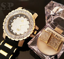 Men Hip Hop Iced out Gold PT Techno Pave Silicone Band Watch & Earring Combo Set