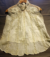 ANTIQUE VICTORIAN/EDWARDIAN BODICE/TOP LACE/PINTUCK (Cream/Off White) No Sleeves