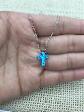 """Blue Opal Small Cross 925 Sterling Silver  Necklace 16""""-18"""""""