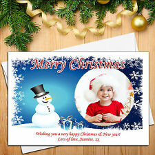 10 Personalised Snowman Happy Xmas Christmas PHOTO Post Cards N3