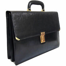 Authentic Bally Black Leather Briefcase Document Hand Bag Purse Vintage Italy