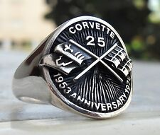 Corvette Sport Car Heavy 3D 25 Anniversary Race Car Ring Sterling Silver 925