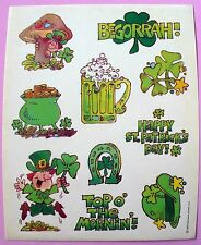 1980 HALLMARK 10 STICKERS 1 SHEET HAPPY ST. PATRICK'S DAY BEGORRAH  POT O GOLD